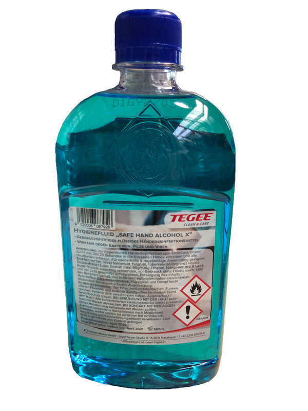 "TEGEE - Hygienefluid ""Safe Hand Alcohol X"" - 500ml - 12 Flaschen"